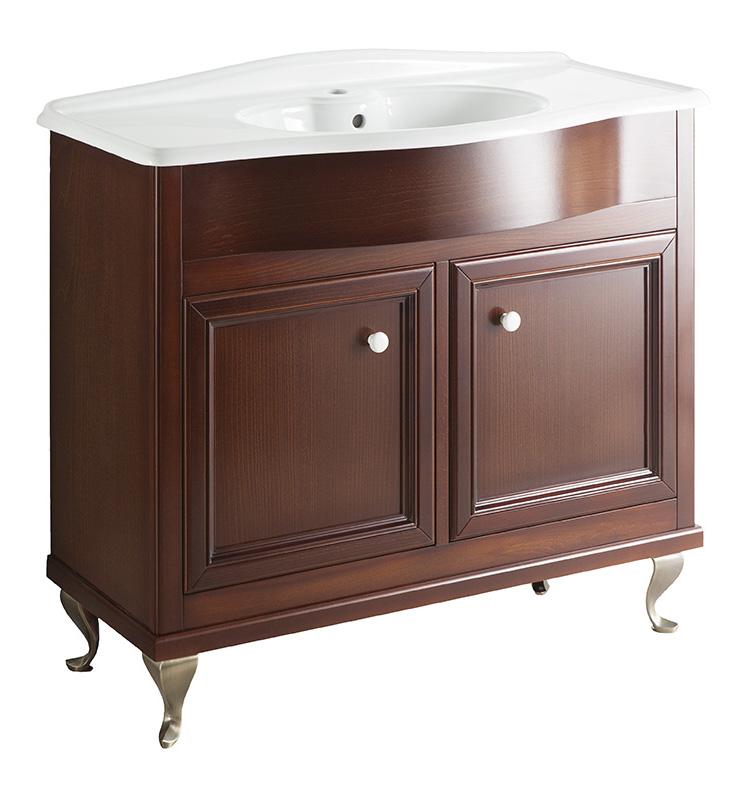 Порто 100 NOCE SCURO (B 039)Мебель для ванной<br>Мебель для ванной Каприго Наполи 100. В стоимость входит тумба напольная под раковину. Размеры – 974x870x434 мм. Ручка – В 12. Отделка – NOCE SCURO. Размер тумбы с раковиной 1018x932x470 мм.<br>