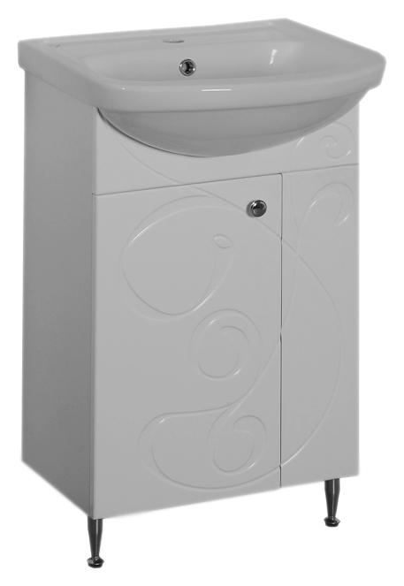 Галисия 50 белая глянцеваяМебель для ванной<br>Тумба под раковину Аквалайф Галисия 50, 1 распашная дверца. Рисунок фрезеровки на фасадах придает этой серии индивидуальный характер, позволяя мебели стать центральной частью интерьера ванной комнаты. Материал корпуса - влагостойкая ДСП с добавлением парафина, торцы деталей обработаны ламинированной кромкой для дополнительной защиты. Материал фасада - одностороннее ламинированное МДФ повышенной плотности с покрытием высококачественной ПВХ пленкой. Цена указана за тумбу. Все остальное приобретается дополнительно.<br>