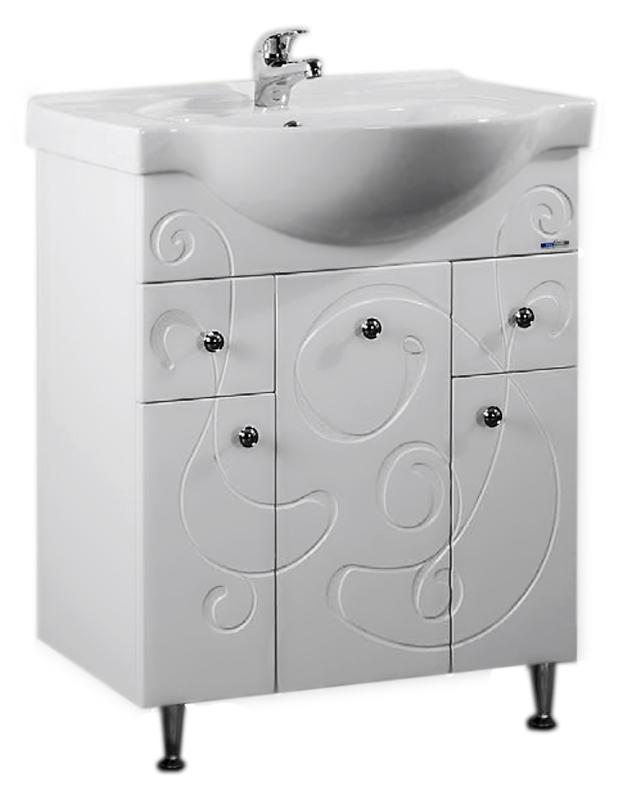 Галисия 70 белая глянцеваяМебель для ванной<br>Тумба под раковину Аквалайф Галисия 70 с бельевой корзиной, 3 дверцы, 2 ящика. Рисунок фрезеровки на фасадах придает этой серии индивидуальный характер, позволяя мебели стать центральной частью интерьера ванной комнаты. Материал корпуса - влагостойкая ДСП с добавлением парафина, торцы деталей обработаны ламинированной кромкой для дополнительной защиты. Материал фасада - одностороннее ламинированное МДФ повышенной плотности с покрытием высококачественной ПВХ пленкой. Цена указана за тумбу. Все остальное приобретается дополнительно.<br>