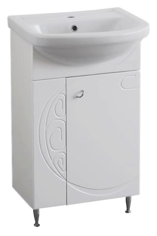 Наварра 50 белая глянцеваяМебель для ванной<br>Тумба под раковину Аквалайф Наварра 50, 1 распашная дверца. Оригинальный узор, захватывающий всю плоскость тумбы, находит свое отражение в фасаде зеркального шкафчика и поддерживается дугообразными ручками, установленными под углом. Материал корпуса - влагостойкая ДСП с добавлением парафина, торцы деталей обработаны ламинированной кромкой для дополнительной защиты. Материал фасада - одностороннее ламинированное МДФ повышенной плотности с покрытием высококачественной ПВХ пленкой. Цена указана за тумбу. Все остальное приобретается дополнительно.<br>