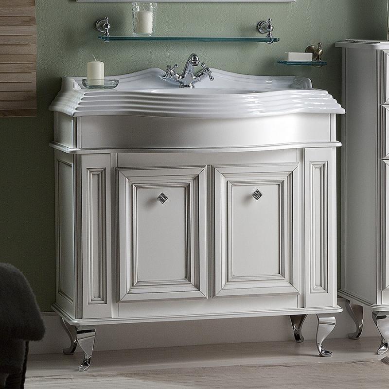 Фреско 100 BIANCO ANTICO (B 002)Мебель для ванной<br>Тумба под раковину Каприго Фреско 100. В стоимость входит тумба напольная под раковину. Размеры – 1020x802x510 мм. Отделка – BIANCO ANTICO. Варианты мебельных ручек – L 10B, L 10H.<br>