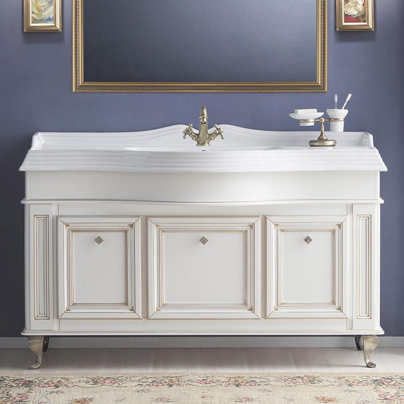 Фреско 150 BIANCO oro caldo (B 017)Мебель для ванной<br>Тумба под раковину Каприго Фреско 150 без столешницы и раковины.  В стоимость входит тумба напольная под раковину. Размеры – 1464x942x540 мм. Отделка – BIANCO oro caldo. Варианты мебельных ручек – L 10B, L 10H.<br>