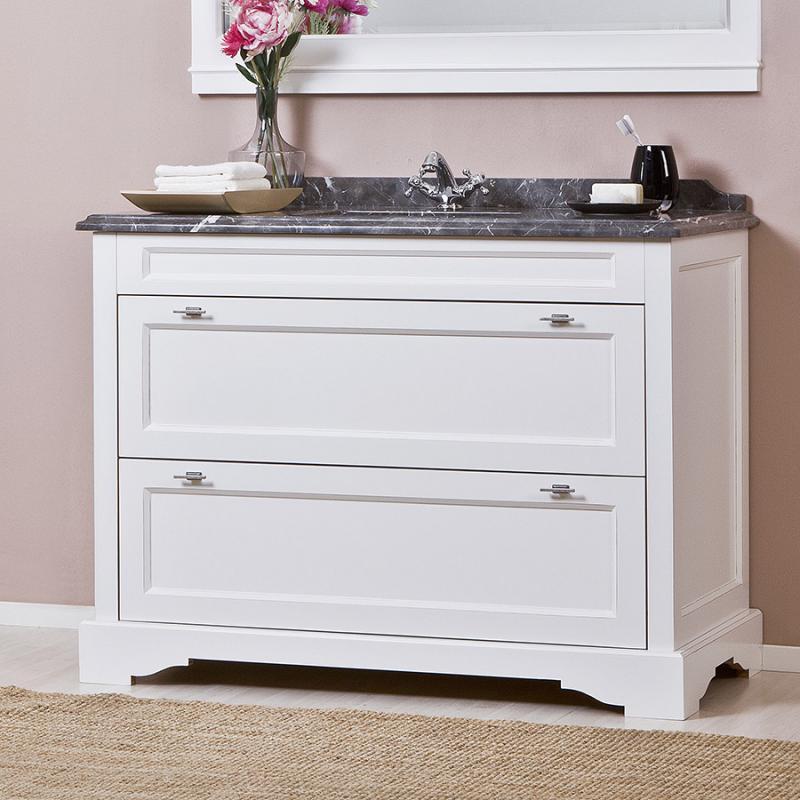 Гринвич 1200 BIANCO (B 031G)Мебель для ванной<br>Мебель для ванной Каприго Гринвич 1200 без столешницы и раковины. В стоимость входит тумба напольная под раковину. С двумя выдвижными ящиками. Размеры – 1200x870x600 мм. Отделка – BIANCO. Варианты мебельных ручек – В 18В, В 18S.<br>