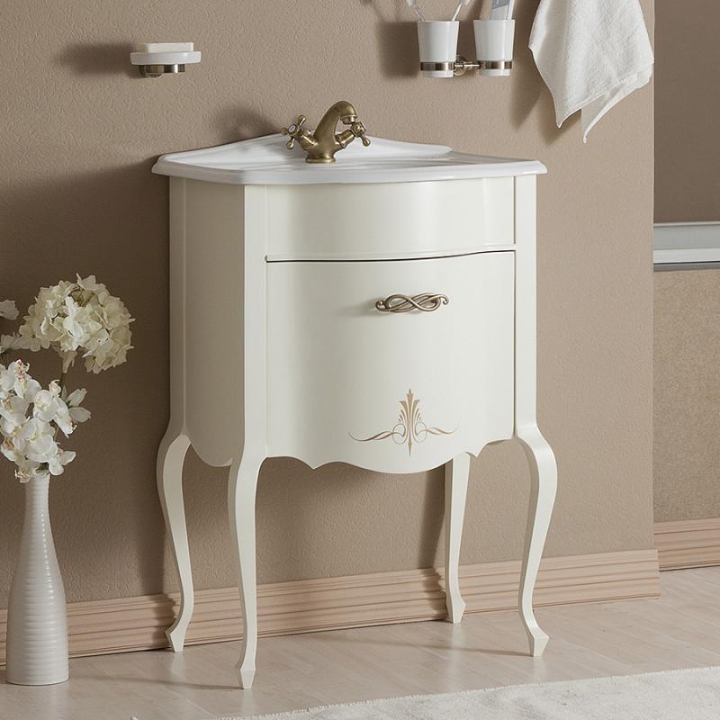 Бурже 60 BIANCO ANTICO (B 002)Мебель для ванной<br>Мебель для ванной Каприго Бурже 60. В стоимость входит тумба напольная под раковину. Размеры – 606х850х431 мм. Отделка – BIANCO ANTICO. Варианты мебельных ручек – В 19, В 20В, В 20S. Размер тумбы с раковиной 610x925x465 мм.<br>