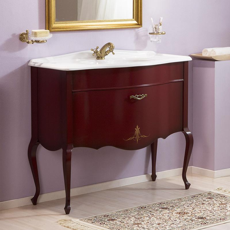 Бурже 90 ROSSO VINO (B 013)Мебель для ванной<br>Мебель для ванной Каприго Бурже 90. В стоимость входит тумба напольная под раковину. Размеры – 906х850х426 мм. Отделка – ROSSO VINO. Варианты мебельных ручек – В 19, В 20В, В 20S. Размер тумбы с раковиной 910x920x465 мм.<br>