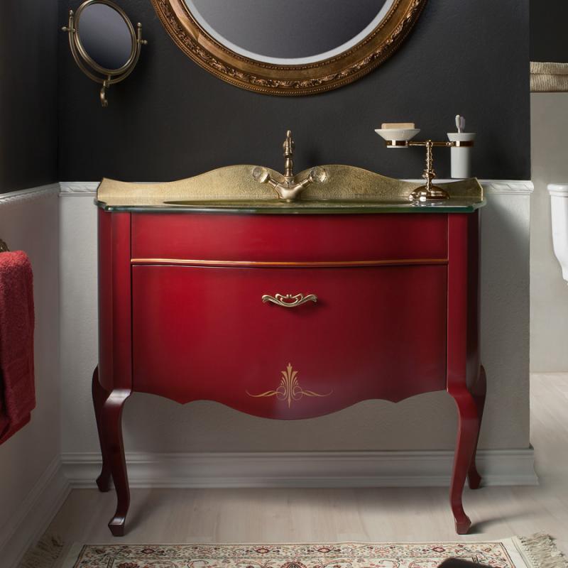 Бурже 120 ROSSO VINO (B 013)Мебель для ванной<br>Мебель для ванной Каприго Бурже 120. В стоимость входит тумба напольная под раковину. Размеры – 1150х945х463 мм. Отделка – ROSSO VINO. Варианты мебельных ручек – В 19, В 20В, В 20S.<br>