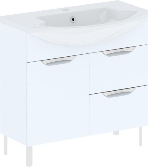 Cosmo New 90 на ножках (исполнение II) Белый глянецМебель для ванной<br>В цену входит тумба на ножках Gemelli Сosmo New укомплектованная раковиной Logic. Все комплектующие (зеркала, пеналы, шкаф) приобретаются отдельно.<br>