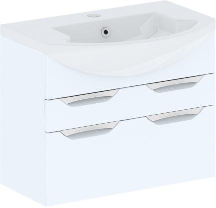 Cosmo New 75 подвесная с ящиками (исполнение II) Белый глянецМебель для ванной<br>В цену входит тумба подвесная с ящиками Gemelli Сosmo New укомплектованная раковиной Logic. Все комплектующие (зеркала, пеналы, шкаф) приобретаются отдельно.<br>