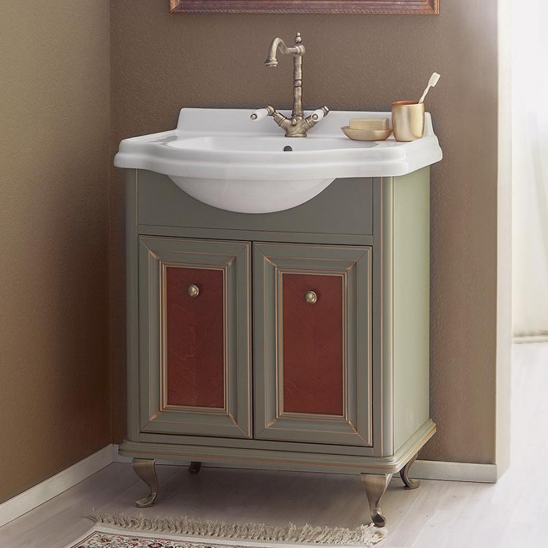 Равенна 70 NOCE ANTICO (B 009)Мебель для ванной<br>Мебель для ванной Каприго Равенна 70. В стоимость входит тумба напольная под раковину. Размеры – 700x940x470 мм. Отделка – NOCE ANTICO. Варианты мебельных ручек – В 08, В 13, В 15. Размер тумбы с раковиной 700x940x480 мм.<br>