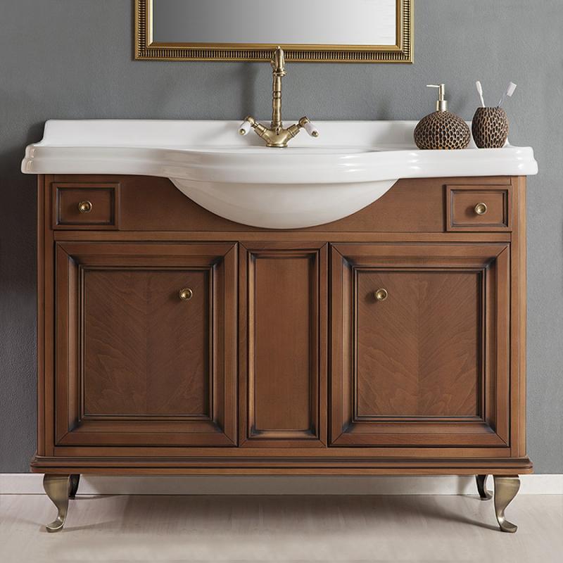 Равенна 120 NOCE europeo (В 041)Мебель для ванной<br>Мебель для ванной Каприго Равенна 120. В стоимость входит тумба напольная под раковину. Размеры – 1220x939x525 мм. Отделка – NOCE europeo. Варианты мебельных ручек – В 08, В 13, В 15. Размер тумбы с раковиной 1220x939x525 мм.<br>