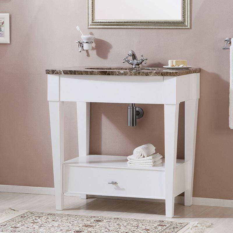 Даллас 90 BIANCO (B 031G)Мебель для ванной<br>Мебель для ванной Каприго Даллас 90. В стоимость входит напольная тумба без столешницы и раковины. Размеры – 600x215x430 мм. Отделка – BIANCO. Варианты мебельных ручек – В 08, В 18B, В 18S.<br>