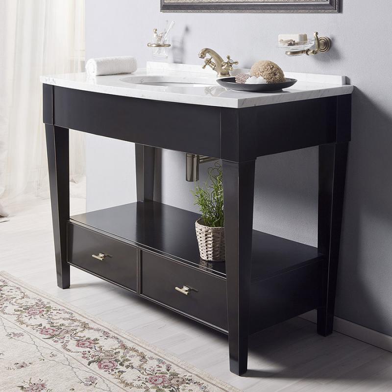 Даллас 120 NERO lucido (B 032)Мебель для ванной<br>Мебель для ванной Каприго Даллас 120. В стоимость входит напольная тумба без столешницы и раковины. Материал – дуб. Размеры – 1170x900x595 мм. Отделка – NERO lucido. Варианты мебельных ручек – В 08, В 18B, В 18S.<br>