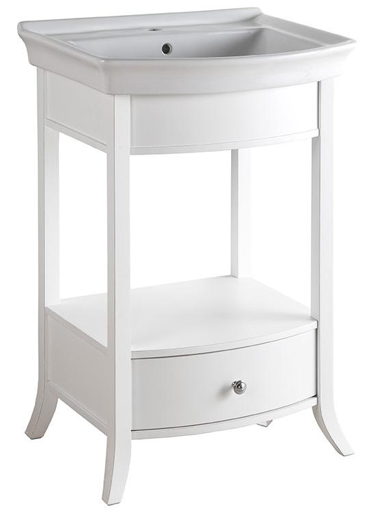 Boden 60 BIANCO (B 031G)Мебель для ванной<br>Консоль Каприго Boden 60 с ящиком, раковина приобретается отдельно. Размеры – 1370x840x570 мм. Отделка – BIANCO.<br>