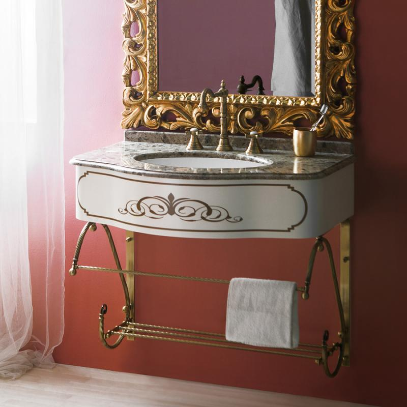 Spazio-console-85 (Менсола Т10) BIANCO ANTICO (B 002)Мебель для ванной<br>Мебель для ванной комнаты Caprigo Spazio-console-85 (Менсола Т10). В стоимость входит тумба для металлической подвесной консоли 7062/80. Размеры – 850x186x546. Материал – дерево. Цвет – BIANCO ANTICO.<br>