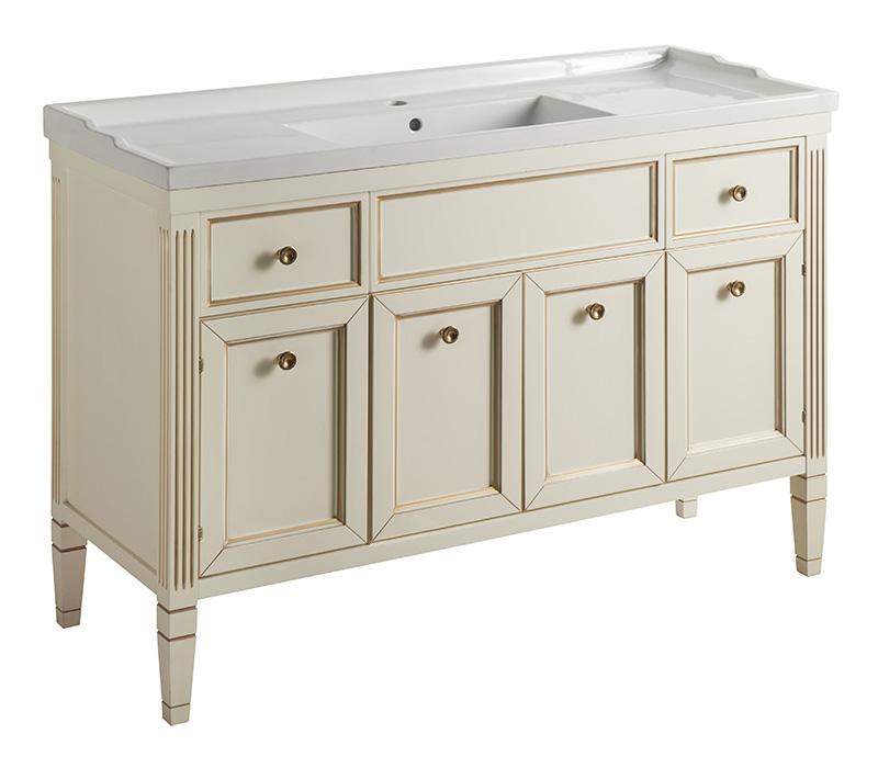 Альбион 120 BIANCO light vintage (B 003)Мебель для ванной<br>Мебель для ванной Каприго Альбион 120. Стоимость указана за тумбу под раковину. С ящиками и дверцами. Размеры – 1200х865х460 мм. Отделка – BIANCO light vintage. Варианты мебельных ручек – В 08, В 13, В 15. Размер тумбы с раковиной: 1210x895x465 мм.<br>