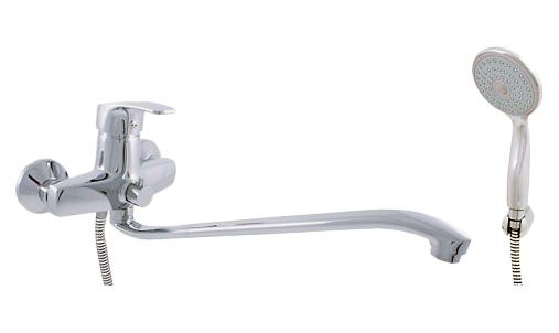 Kongo K052.5/1 ХромСмесители<br>Rav Slezak Kongo K052.5/1 для ванной и раковины. В комплектацию входит смеситель, душевой шланг ПВХ, душевая лейка, настенный держатель, латунные штуцеры и гайки.<br>