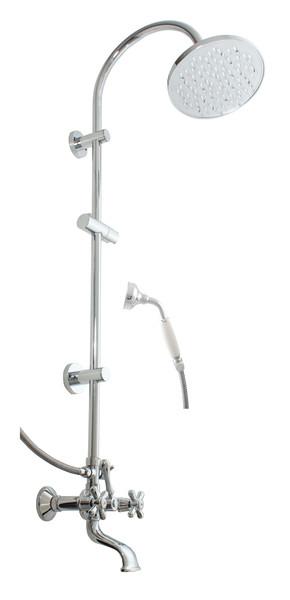 Morava Retro MK159.5/3 ХромДушевые системы<br>Душевая система Rav Slezak Morava Retro MK159.5/3 для ванной. В комплектацию входит смеситель, верхний душ, ручной душ, шланг для душа, держатель душа.<br>