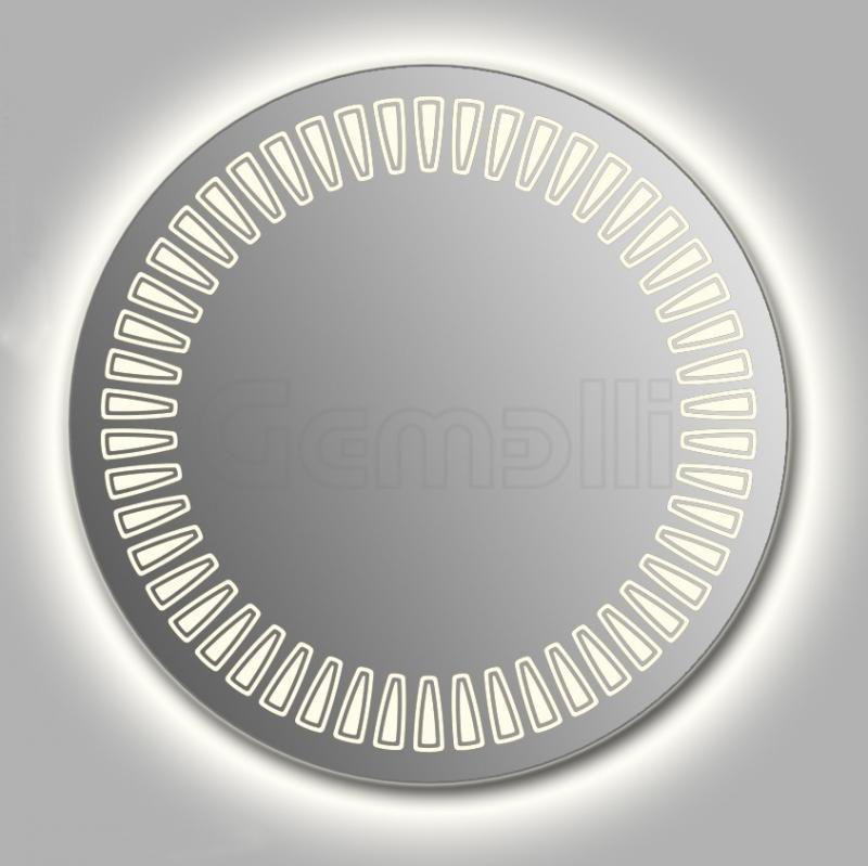 Design D-sole Сontour 90 смМебель для ванной<br>Зеркало круглой формы из модельного ряда Design с контурной и фронтальной LED-подсветкой. Толщина зеркала 5-6 мм с превосходным качеством отражения. Оригинальное сочетание формы зеркала и подсветки. Регулируемое крепление зеркала к стене. Выключатель сенсорный Touchtronic (включение касанием) внизу на лицевой панели зеркала. Диаметр зеркала - 90 см, глубина (с учетом монтажного крепления и корпуса) - 4 см.<br>