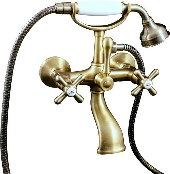 Morava Retro MK159.5/2SM БронзаСмесители<br>Rav Slezak Morava Retro MK159.5/2SM смеситель для ванной. В комплектацию входит смеситель для ванной, душевой шланг, душевая лейка, держатель для душевой лейки.<br>