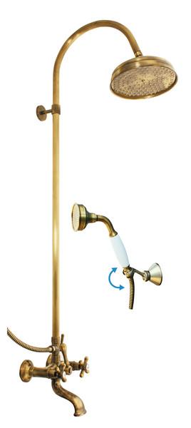 Morava Retro MK159.5/3SM БронзаДушевые системы<br>Душевая система Rav Slezak Morava Retro MK159.5/3SM для ванной. В комплектацию входит смеситель, верхний душ, ручной душ, шланг для душа, настенный держатель.<br>