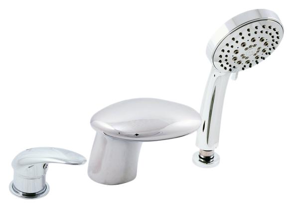 Dunaj D471.5Y ХромСмесители<br>Rav Slezak Dunaj D471.5Y каскадный смеситель для ванны. Врезной на 3 отверстия. В состав комплекта входит: керамический переключатель в миксе ручки, картридж 40 мм, душевой шланг с пружиной, душевая лейка, гибкая подводка 1/2.<br>