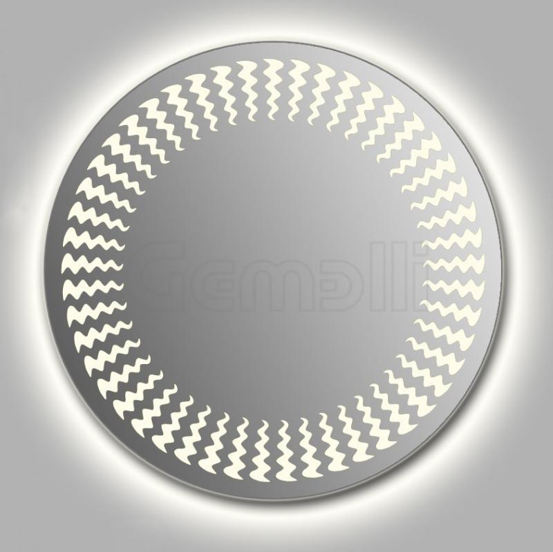 Design D-wave Contour 105 смМебель для ванной<br>Зеркало круглой формы из модельного ряда Design с контурной и фронтальной LED-подсветкой. Толщина зеркала 5-6 мм с превосходным качеством отражения. Оригинальное сочетание формы зеркала и подсветки. Регулируемое крепление зеркала к стене. Выключатель сенсорный Touchtronic (включение касанием) внизу на лицевой панели зеркала. Диаметр зеркала - 105 см, глубина (с учетом монтажного крепления и корпуса) - 4 см.<br>