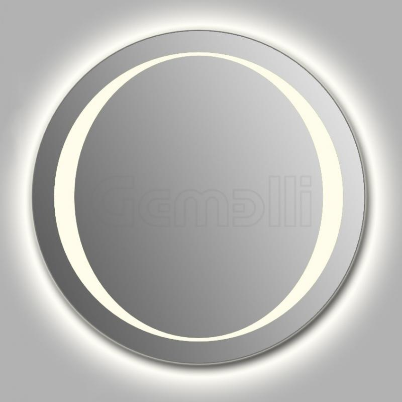 Design D-zero Contour 90 смМебель для ванной<br>Зеркало круглой формы из модельного ряда Design с контурной и фронтальной LED-подсветкой. Толщина зеркала 5-6 мм с превосходным качеством отражения. Оригинальное сочетание формы зеркала и подсветки. Регулируемое крепление зеркала к стене. Выключатель сенсорный Touchtronic (включение касанием) внизу на лицевой панели зеркала. Диаметр зеркала - 90 см, глубина (с учетом монтажного крепления и корпуса) - 4 см.<br>