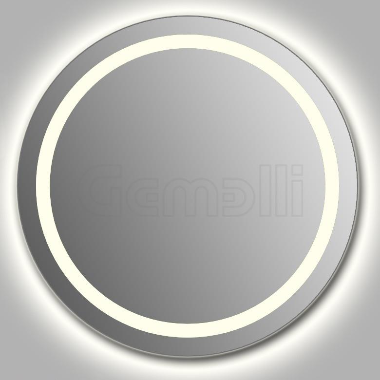 Design D-ring Contour 75 смМебель для ванной<br>Зеркало круглой формы из модельного ряда Design с контурной и фронтальной LED-подсветкой. Толщина зеркала 5-6 мм с превосходным качеством отражения. Оригинальное сочетание формы зеркала и подсветки. Регулируемое крепление зеркала к стене. Выключатель сенсорный Touchtronic (включение касанием) внизу на лицевой панели зеркала. Диаметр зеркала - 75 см, глубина (с учетом монтажного крепления и корпуса) - 4 см.<br>