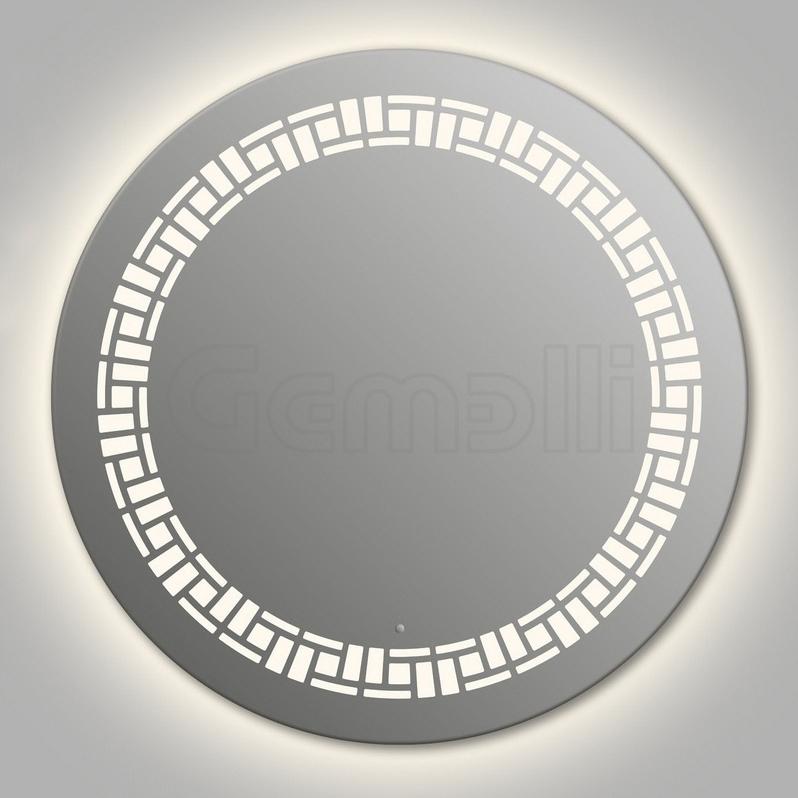 Design D-mosaic Contour 75 смМебель для ванной<br>Зеркало круглой формы из модельного ряда Design с контурной и фронтальной LED-подсветкой. Толщина зеркала 5-6 мм с превосходным качеством отражения. Оригинальное сочетание формы зеркала и подсветки. Регулируемое крепление зеркала к стене. Выключатель сенсорный Touchtronic (включение касанием) внизу на лицевой панели зеркала. Диаметр зеркала - 75 см, глубина (с учетом монтажного крепления и корпуса) - 4 см.<br>