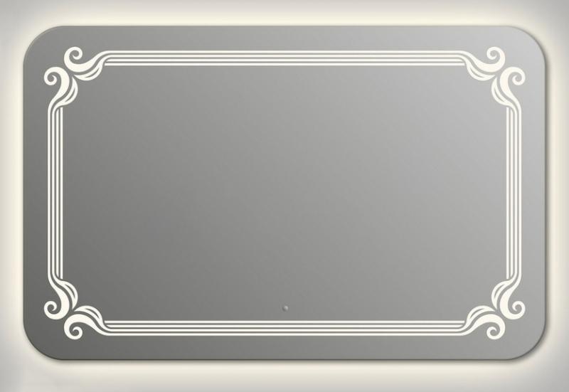 Design QR De Paris Contour H750 75x90 смМебель для ванной<br>Зеркало прямоугольной формы со скругленными углами из модельного ряда Design c контурной и фронтальной Led-подсветкой. Высота зеркала - 75 см, глубина (с учетом монтажного крепления и корпуса) - 4 см, ширина - 90 см.<br>