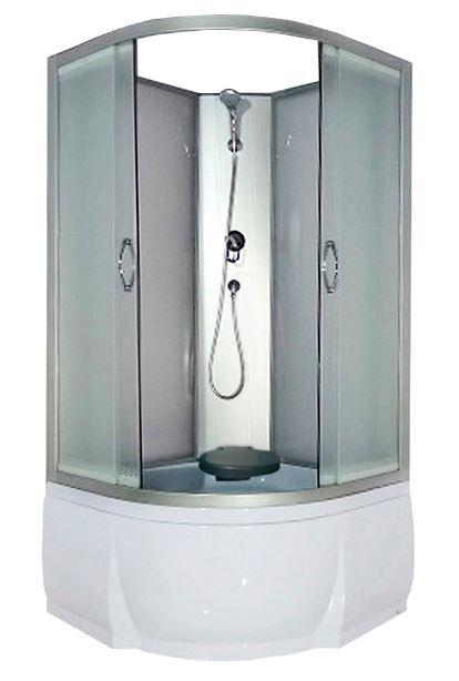 Nara Б/К 80x43 МТ Матовое стекло/профиль матовый хромДушевые кабины<br>Душевая кабина River Nara Б/К  80x43 МТ без крыши. Задняя стенка - матовое стекло. Центральная стойка, ручной душ 3-х позиционный,  держатель для лейки, смеситель, полочка, сидение, поддон  со съемным экраном высотой 43 см, сифон.<br>