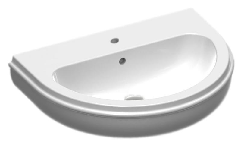 Charme CHA270 bianco lucidoРаковины<br>Раковина Azzurra Charme CHA270 с плавными деликатными изгибами и белоснежной глянцевой керамикой выполнена в современной интерпретации классического стиля. Одно отверстие для смесителя выбито. По желанию можно также приобрести пьедестал или консоль. Цена указана за раковину. Все остальное приобретается дополнительно.<br>