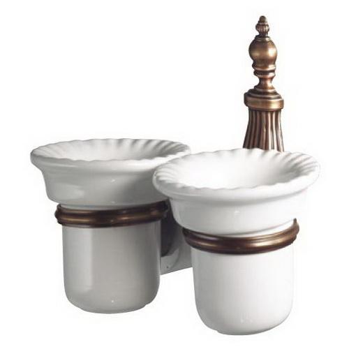 Retro Opal OP110br Белый, бронзаАксессуары для ванной<br>Двойной держатель для стакана керамический Allpe Retro Opal OP110br, цвет держателя бронза.<br>