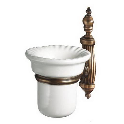 Retro Opal OP109br БронзаАксессуары для ванной<br>Настенный стакан керамический Retro Opal OP109br, цвет держателя бронза.<br>