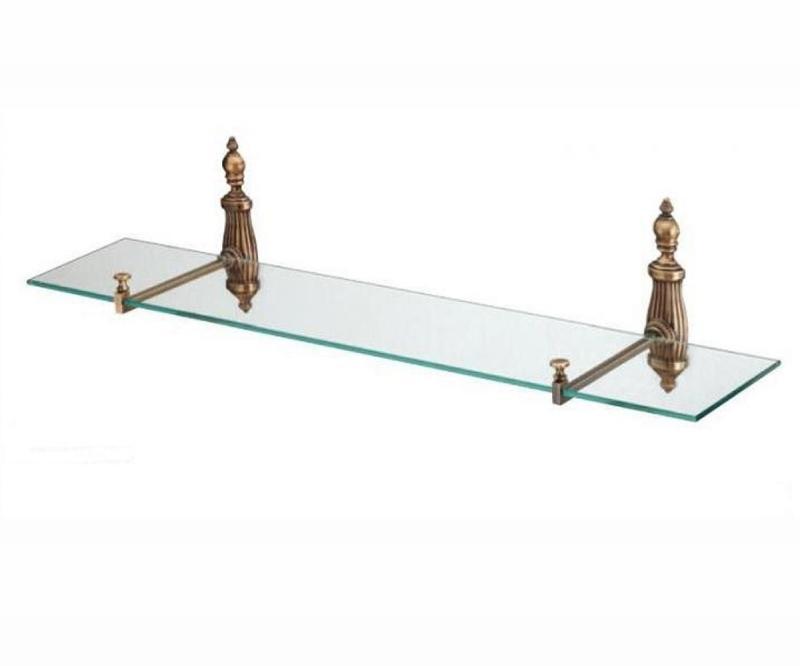 Retro Opal OP018br БронзаАксессуары для ванной<br>Настенная стеклянная полка 60 см All.pe Retro Opal OP018br для ванной комнаты.<br>