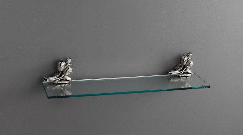 Tulip AM-B-0823-T СереброАксессуары для ванной<br>Стеклянная полка Art&amp;Max Tulip AM-B-0823-T подвесная. Цвет изделия - серебро.<br>