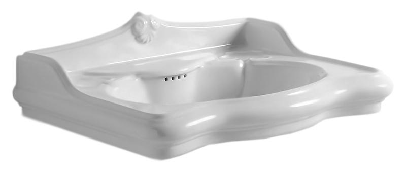 Jubilaeum JUB700/M bianco lucidoРаковины<br>Раковина Azzurra Jubilaeum JUB700/M встраиваемая сверху с белоснежной глянцевой керамикой, изящными округлыми формами и плавными изогнутыми линиями выполнена в стиле Викторианской эпохи. Одно отверстие для смесителя выбито. Цена указана за чашу раковины. Все остальное приобретается дополнительно.<br>