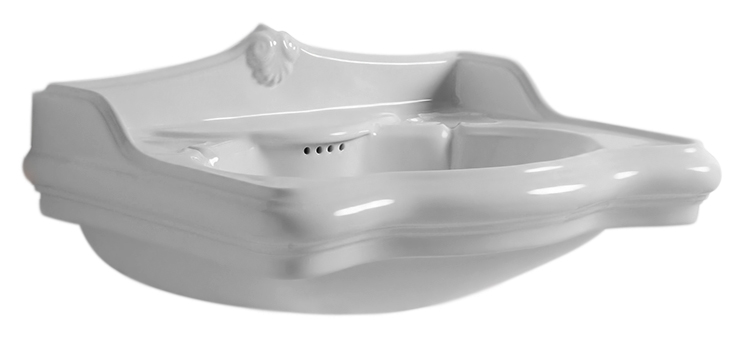 Jubilaeum JUB200 bianco lucido, 1 отверстие под смесительРаковины<br>Раковина Azzurra Jubilaeum JUB200 с изящными округлыми формами и плавными изогнутыми линиями выполнена в стиле Викторианской эпохи. Одно отверстие для смесителя выбито.<br>