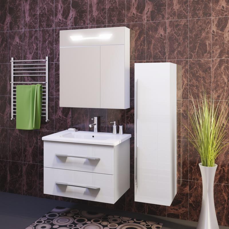 Октава 80 БелыйМебель для ванной<br>В комплект мебели для ванной Opadiris Октава 80 входит: тумба подвесная с 2-мя выдвижными ящиками, оснащенными плавным втягивающим механизмом Нettich,  керамическая раковина Dreja MYJoys Эйфория 80 и зеркало-шкаф со встроенной подсветкой.<br>