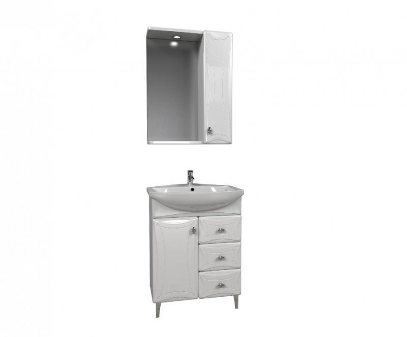 Котка 60 БелаяМебель для ванной<br>Тумба под раковину Aqualife Design Котка 60 с 3 ящиками.  Стоимость указана только за тумбу. Дополнительно вы можете приобрести раковину, шкаф-пенал и зеркало.<br>