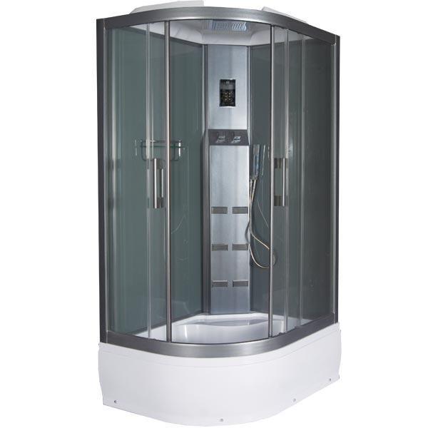 Sirius 120 Прозрачное стекло (R)Душевые кабины<br>Aquanet Sirius 120. Поддон: средний 360 мм. Профиль: Black Grafit (черный графит). Стекло: прозрачное. Комплектация: купол с многофункциональным душевым комплексом с LED подсветкой, расслабляющий тропический душ, хромированный смеситель для холодной и горячей воды, ручная лейка с хромированным шлангом и держателем, 6 гидромассажных форсунок, сенсорный пульт управления с функцией TOUCH SCREEN, радио, телефон, вентилятор, полочка для косметических средств. Задние стенки: тонированные.<br>