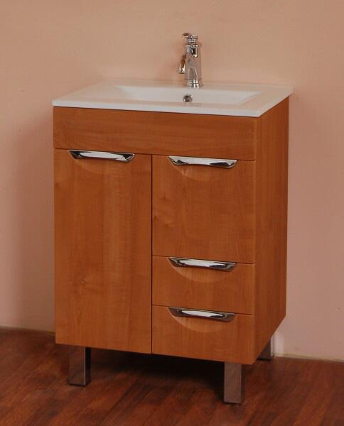 Орфей 60 на ножках Бамбук-стальМебель для ванной<br>В стоимость входит тумба с раковиной Sanvit Орфей 60. Тумба на ножках с двумя распашными дверцами и двумя выдвижными ящиками, раковина керамика. Зеркало приобретается отдельно.<br>