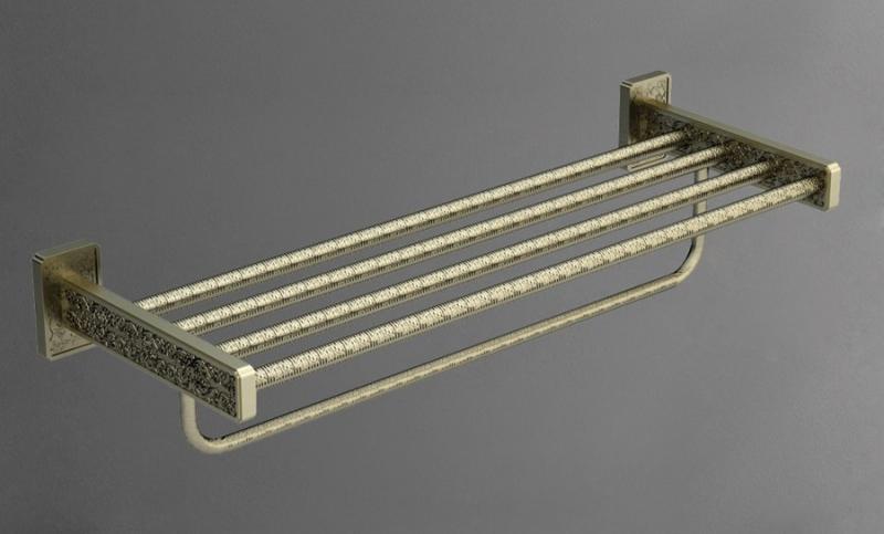Gotico AM-4822AQ БронзаАксессуары для ванной<br>Настенная полка для полотенец Art&amp;Max Gotico AM-4822AQ шириной 60 см.<br>