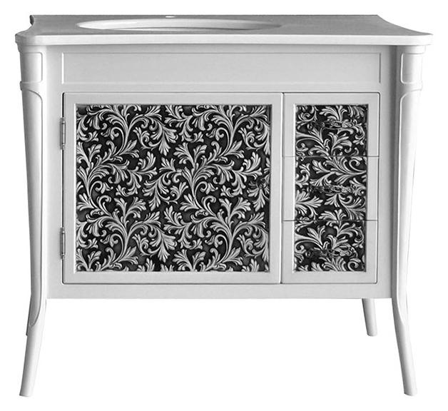 Валенсия 100 New bianco (черная патина) Bianco (черная патина)Мебель для ванной<br>Тумба под раковину Атолл Валенсия 100 на ножках. Фасад МДФ, покраска. Базовый цвет bianco, черная патина. Раковина Creavit со столешницей в комплекте.<br>