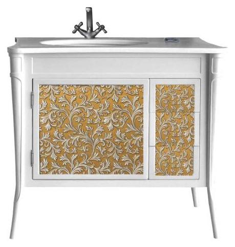 Валенсия 100 New dorato (золото) Dorato (золото)Мебель для ванной<br>Тумба под раковину Атолл Валенсия 100 на ножках. Фасад МДФ, покраска. Базовый цвет dorato (золото). Раковина Creavit со столешницей в комплекте.<br>