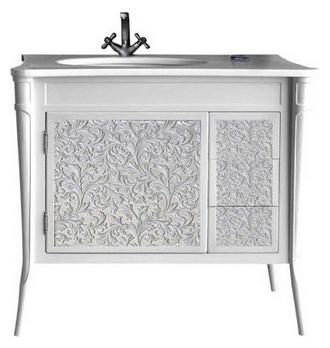 Валенсия 100 New ivory (серебро) Ivory(серебро)Мебель для ванной<br>Тумба под раковину Атолл Валенсия 100 на ножках. Фасад МДФ, покраска. Базовый цвет ivory. Раковина Creavit со столешницей в комплекте.<br>