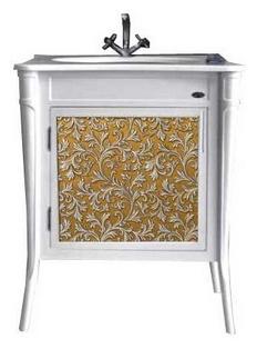 Валенсия 75 New dorato (золото) Dorato (золото)Мебель для ванной<br>Тумба под раковину Атолл Валенсия 75 на ножках. Фасад МДФ, покраска. Базовый цвет dorato (золото). Раковина Creavit со столешницей в комплекте.<br>