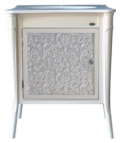 Валенсия 75 New ivory(серебро) Ivory(серебро)Мебель для ванной<br>Тумба под раковину Атолл Валенсия 75 на ножках. Фасад МДФ, покраска. Базовый цвет ivory. Раковина Creavit со столешницей в комплекте.<br>