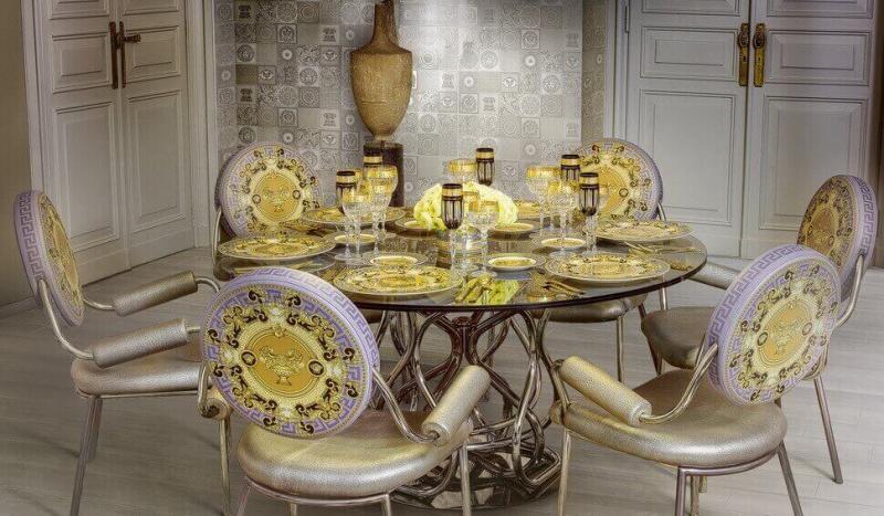 Керамическая плитка Versace Home Gold Decori Acqua Dama Decorato Crema/Oro 25х75 декор стоимость