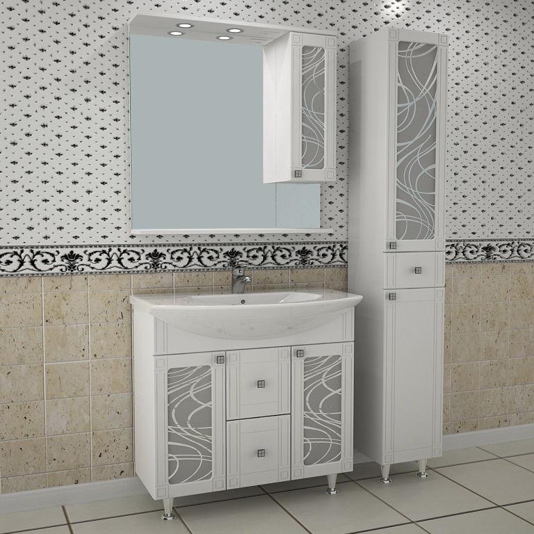 Альфа Кристалл 80 БелаяМебель для ванной<br>Тумба под раковину АСБ Альфа-Кристалл 80 напольная. Цвет белый.<br>